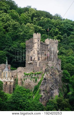 Historic Medeaval Castle in Central Western Germany along the Rhine River.