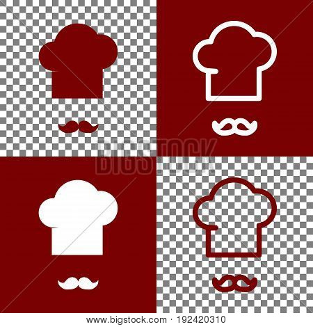 Chef hat and moustache sign. Vector. Bordo and white icons and line icons on chess board with transparent background.
