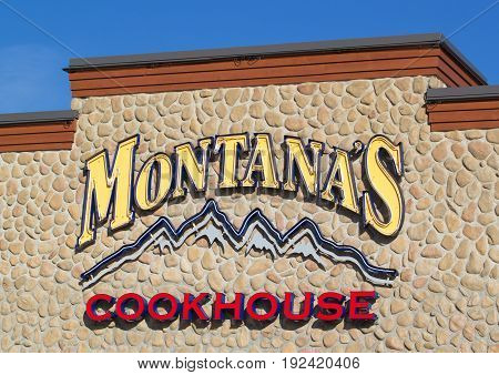 DARTMOUTH CANADA - JUNE 23 2017: Montana's Cookhouse sign Montana's Cookhouse is a Canadian restaurant chain which is a peripheral of Cara Operations.