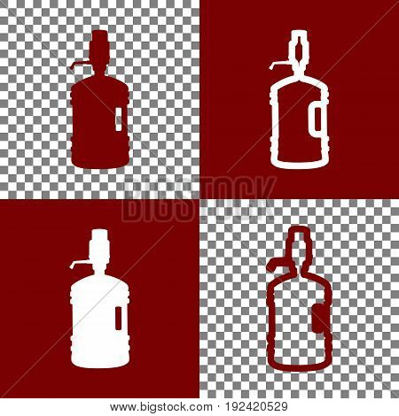 Plastic bottle silhouette with water and siphon. Vector. Bordo and white icons and line icons on chess board with transparent background.