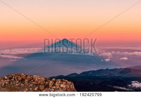 Shadow of Teide volcano in the morning. Tenerife, Canary Islands