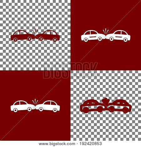 Crashed Cars sign. Vector. Bordo and white icons and line icons on chess board with transparent background.
