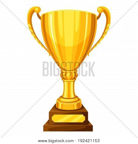 Realistic gold cup with place for text. Illustration of award for sports or corporate competitions.