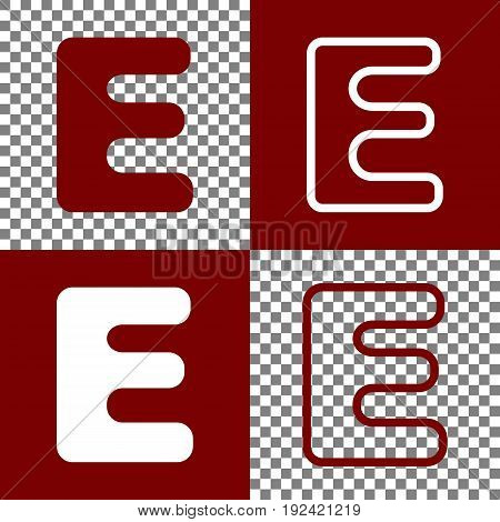 Letter E sign design template element. Vector. Bordo and white icons and line icons on chess board with transparent background.