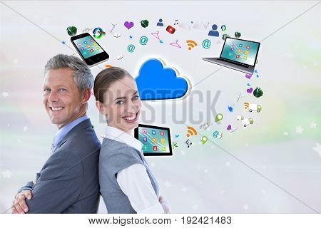 Digital composite of apps in back + model