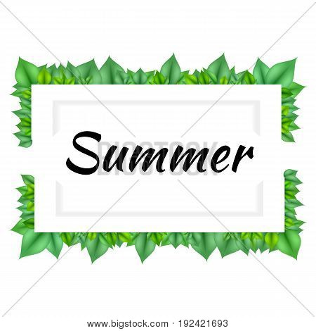 Vector frame with green leaves. EPS 10.