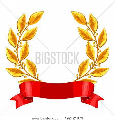Realistic gold laurel wreath with red ribbon. Illustration of award for sports or corporate competitions.