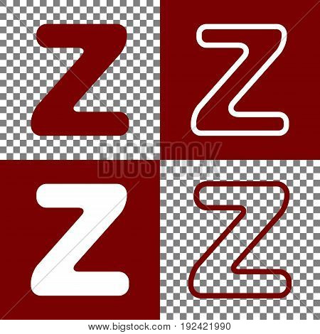 Letter Z sign design template element. Vector. Bordo and white icons and line icons on chess board with transparent background.
