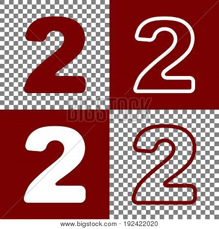 Number 2 sign design template elements. Vector. Bordo and white icons and line icons on chess board with transparent background.