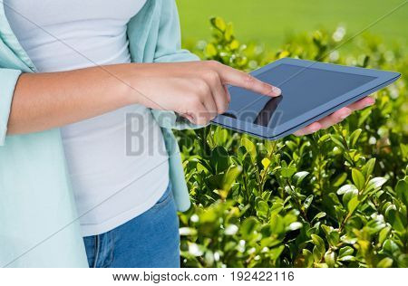 Digital composite of Model with devices farming