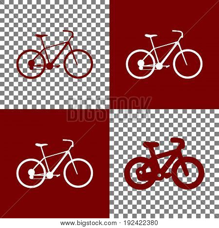 Bicycle, Bike sign. Vector. Bordo and white icons and line icons on chess board with transparent background.