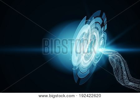 Side view of abstract grid hand pressing digital button. Tech concept. 3D Rendering