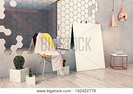 Side view of concrere interior with hexagonal mirror chair decorative plants canvas leaning on wall and other items. Mock up 3D Rendering