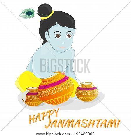 Vector illustration Happy Janmashtami. Krishna. EPS 10.