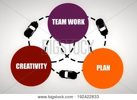 Colorful business diagram connected with dotted circles and cars. Planning concept
