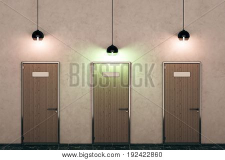 Three wooden doors and illuminated lamps in concrete interior. Opportunity concept. 3D Rendering