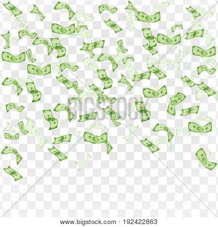 Vector illustration. Finance concept. Rain from dollars.