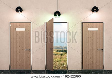 Three wooden doors with landscape view and illuminated lamps in concrete interior. Paradise concept. 3D Rendering