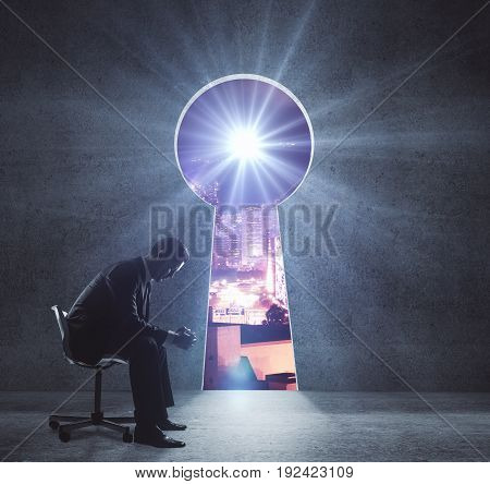 Side view of thoughtful young businessman sitting on chair in interior with keyhole opening revealing night city view. Accessibility concept. 3D Rendering