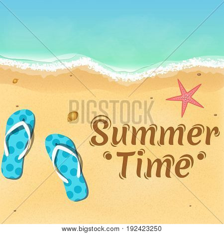 Slates a starfish and a beautiful text on the beach. Opening of the summer season. Relax on the beach. Vector illustration. EPS 10