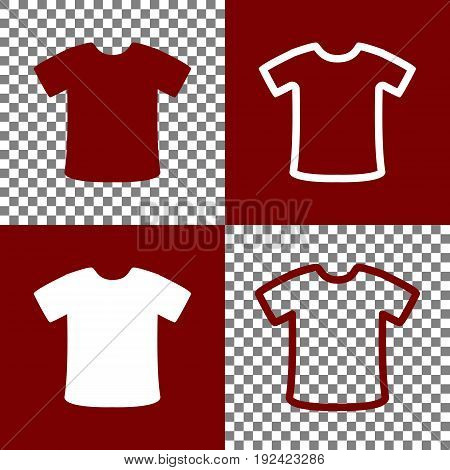 T-shirt sign. Vector. Bordo and white icons and line icons on chess board with transparent background.