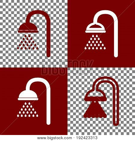 Shower sign. Vector. Bordo and white icons and line icons on chess board with transparent background.