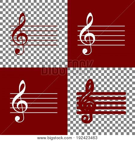 Music violin clef sign. G-clef. Vector. Bordo and white icons and line icons on chess board with transparent background.