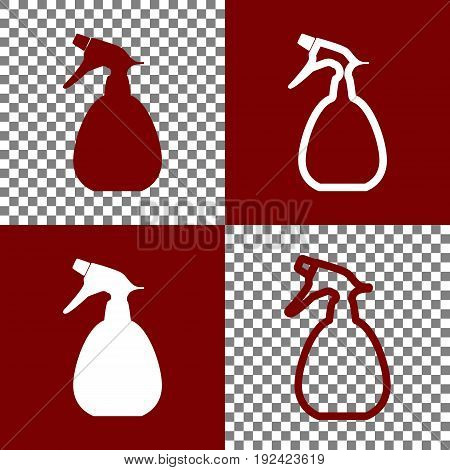Spray bottle for cleaning sign. Vector. Bordo and white icons and line icons on chess board with transparent background.