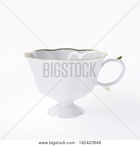 White vintage porcelain cup isolated on white background. 3d illustration