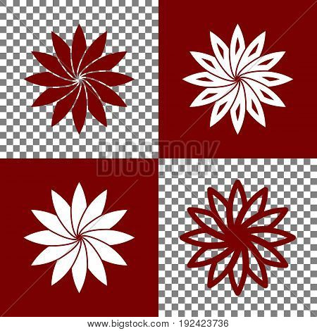 Flower sign. Vector. Bordo and white icons and line icons on chess board with transparent background.