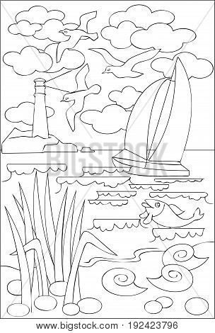 Page with black and white drawing of seascape for coloring. Developing children skills for drawing. Vector image.