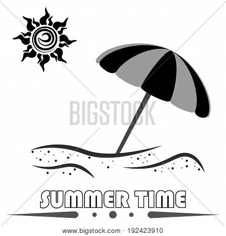 Vector summer vacation icon. Sun and umbrella.