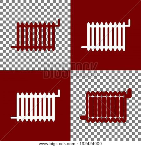 Radiator sign. Vector. Bordo and white icons and line icons on chess board with transparent background.