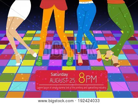 Disco party flyer. Feet of people dancing on a club party. Unrecognizable