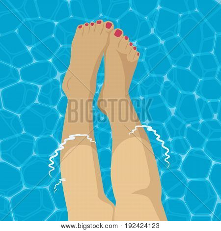 Beautiful female foot in the swimming pool background