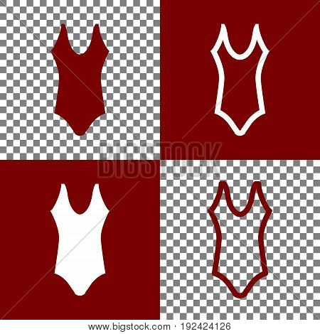 Woman's swimsuit sign. Vector. Bordo and white icons and line icons on chess board with transparent background.
