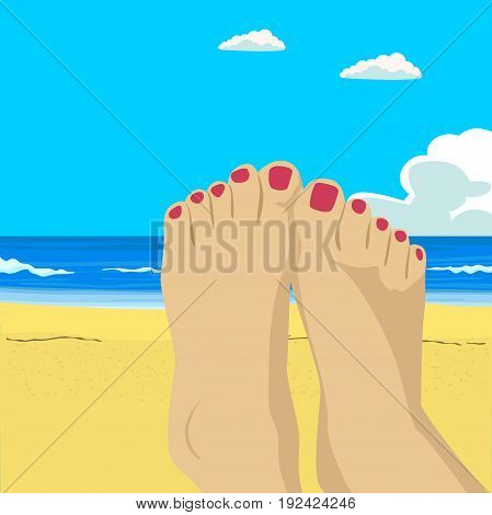 Woman feet closeup. Girl relaxing on the beach on sunbed enjoying sun on sunny summer day. Vacation holidays.