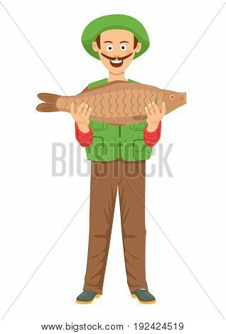 Cute fishman with mustache holding a big fish over white background