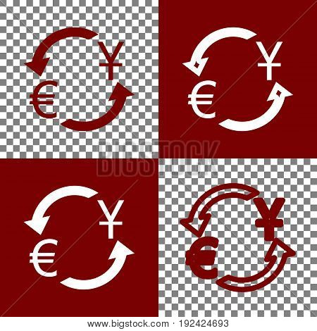 Currency exchange sign. Dollar and Euro. Vector. Bordo and white icons and line icons on chess board with transparent background.