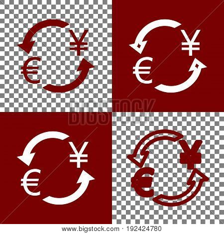 Currency exchange sign. Euro and Japan Yen. Vector. Bordo and white icons and line icons on chess board with transparent background.