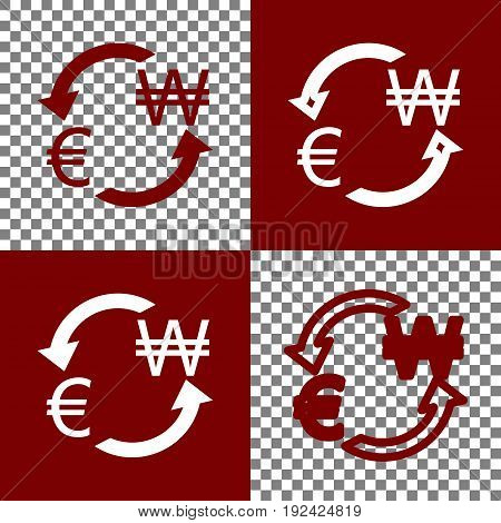 Currency exchange sign. Euro and South Korea Won. Vector. Bordo and white icons and line icons on chess board with transparent background.