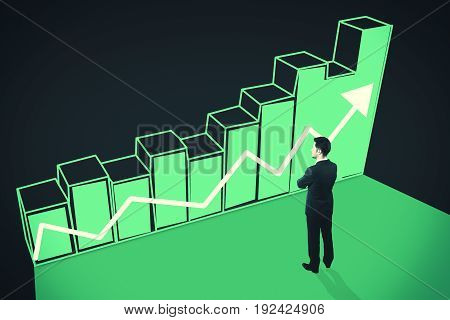Side view of thoughtful businessman looking at green chart bars with upward arrow on dark background. Sales concept. 3D Rendering