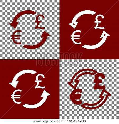 Currency exchange sign. Euro and UK Pound. Vector. Bordo and white icons and line icons on chess board with transparent background.