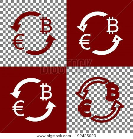 Currency exchange sign. Euro and Bitcoin. Vector. Bordo and white icons and line icons on chess board with transparent background.