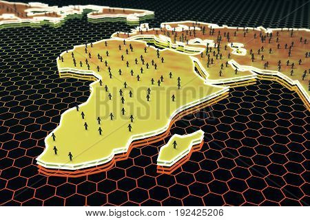 Abstract map with small people/businessmen figures on honeycomb/hexagon patterned background. Networking concept. 3D Rendering