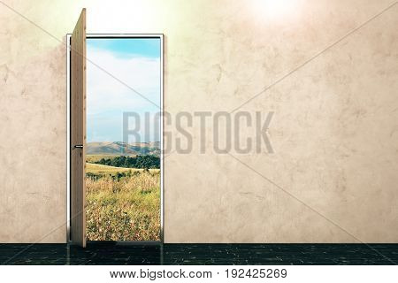 Open door with landscape view in concrete interior with empty wall. Sucess concept. Mock up 3D Rendering