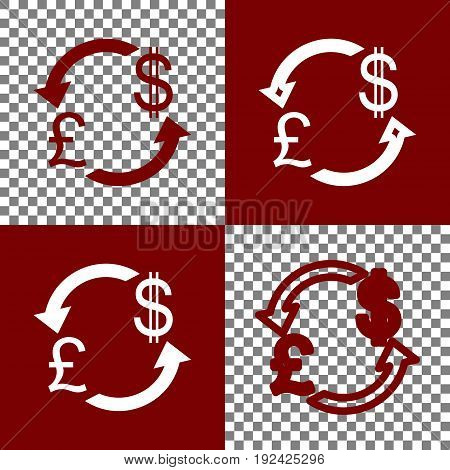 Currency exchange sign. UK: Pound and US Dollar. Vector. Bordo and white icons and line icons on chess board with transparent background.