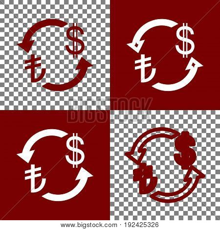 Currency exchange sign. Turkey Lira and US Dollar. Vector. Bordo and white icons and line icons on chess board with transparent background.