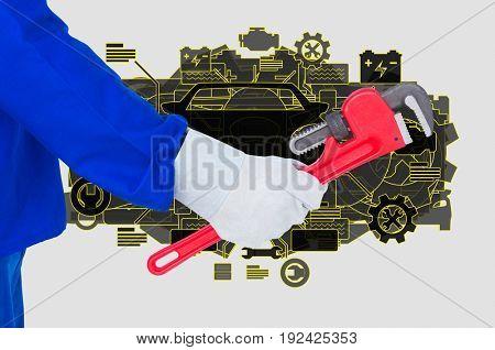 Digital composite of mechanic torso 12