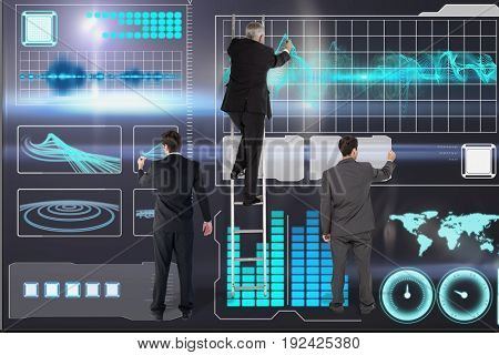 Digital composite of models on ladder